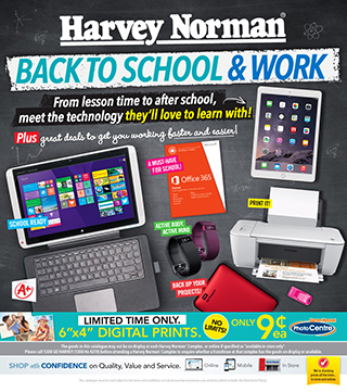 Harvey Norman back to school & work, on selected Samsung, LG, Canon, Asus and more
