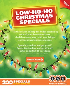 BWS  catalogue low-ho-ho christmas specials on beer, wine & spirits
