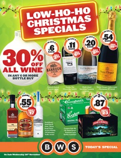BWS christmas specials offers beer, wine & spirits