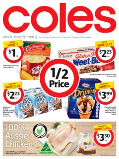 Coles catalogue specials offers huge saving 1/2 prices on groceries and fresh food