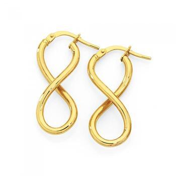 9ct Gold Infinity Twist Hoop Earrings