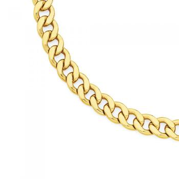 9ct Gold on Silver 55cm Bevelled Curb Chain