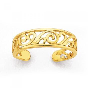 9ct Gold, Filigree Toe Ring