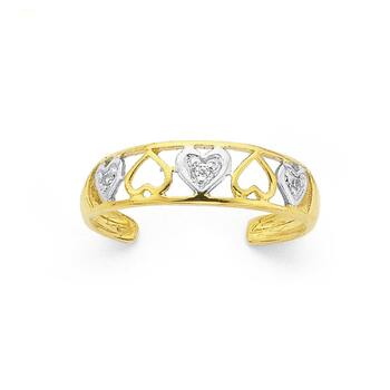 9ct Gold, Two Tone Cubic Zirconia Multi Hearts Toe Ring