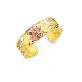 9ct & Rose Gold Flower Toe Ring