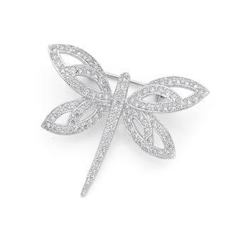 Silver Cubic Zirconia Dragonfly Brooch