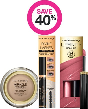 Save 40% on Entire Max Factor Range