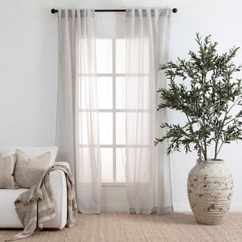 Beachley Sheer Silver Curtain Pair by Essentials