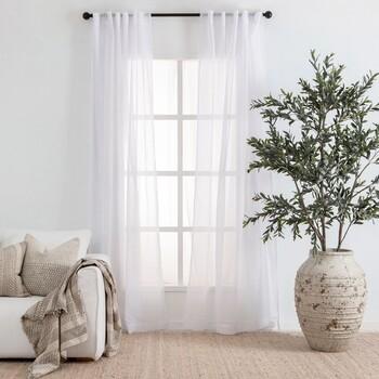 Beachley Sheer White Curtain Pair by Essentials