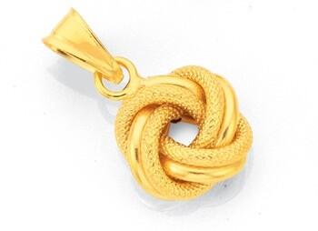 9ct Gold 12mm Plain & Patterned Double Knot Pendant
