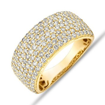 Pave Ring with 1.50 Carat TW Diamond in 10ct Yellow Gold^