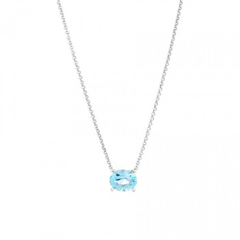 NEW 10mm Sky Blue Topaz Necklace in Sterling Silver