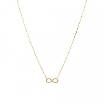 NEW Infinity Necklace with Diamonds in 10ct Yellow Gold^