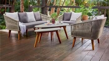 Bora Bora 4 Seater Wicker & Timber Lounge Setting
