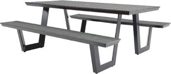 Manhattan 6 Seater Aluminium Polywood Bench Set