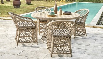 Congo 4 Seater Round Wicker Dining Setting