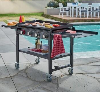Grilled Dover 4 Burner Solid Plate BBQ