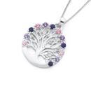 Silver-Pinks-Cubic-Zirconia-Tree-Of-Life-Pendant Sale