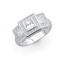 Silver-Three-Square-Cubic-Zirconia-Cluster-Ring Sale