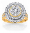 9ct-Gold-Two-Tone-Diamond-Large-Round-Cluster-Ring Sale