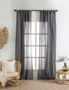 Washed-Linen-Sheer-Curtain-Pair-Charcoal Sale