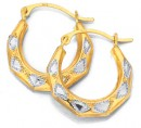 9ct-Gold-Two-Tone-Patterned-Creole-Earrings Sale