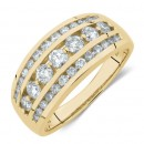 Three-Row-Ring-with-1-Carat-TW-of-Diamond-in-10ct-Yellow-Gold Sale