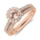 Evermore-Bridal-Set-with-Morganite-054-Carat-TW-of-Diamonds-in-14ct-Rose-Gold Sale