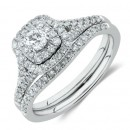 Bridal-Set-with-060-Carat-TW-of-Diamonds-in-10ct-White-Gold Sale