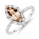 Sir-Michael-Hill-Designer-Marquise-Engagement-Ring-with-Morganite-050-Carat-TW-of-Diamonds-in-18ct-White-Gold Sale