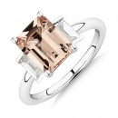 NEW-Sir-Michael-Hill-Designer-Emerald-Cut-Engagement-Ring-with-Morganite-048-Carat-TW-of-Diamonds-in-18ct-White-Gold Sale
