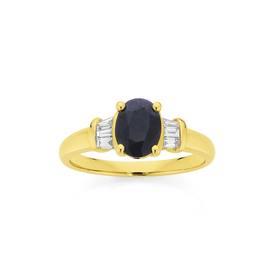 9ct-Gold-Sapphire-Diamond-Ring on sale