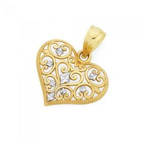 9ct-Gold-Two-Tone-Filigree-Heart-Pendant on sale