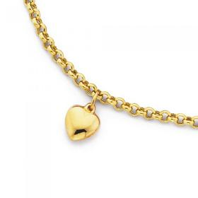 9ct-Gold-25cm-Hollow-Belcher-Anklet-with-Heart-Charm on sale