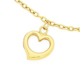 9ct-Gold-27cm-Solid-Belcher-Anklet-with-Heart on sale