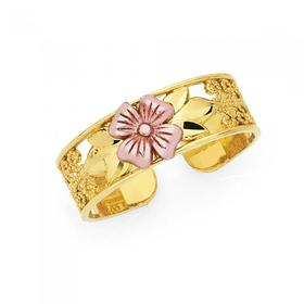 9ct-Two-Tone-Flower-Toe-Ring on sale