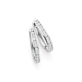 9ct-White-Gold-Diamond-Hoop-Earrings on sale