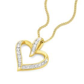 9ct-Gold-Diamond-Heart-Pendant on sale