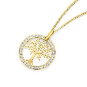 9ct-Gold-Diamond-Tree-of-Life-Pendant on sale