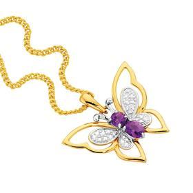 9ct-Gold-Amethyst-Diamond-Butterfly-Pendant on sale