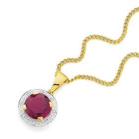 9ct-Gold-Created-Ruby-Diamond-Round-Pendant on sale