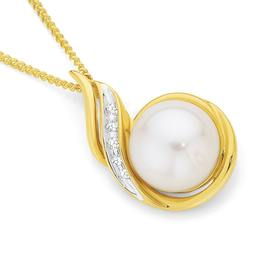 9ct-Gold-Cultured-Freshwater-Button-Pearl-Diamond-Pendant on sale