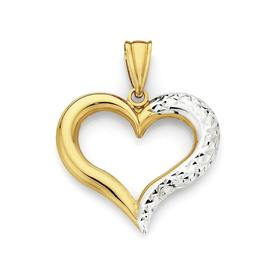 9ct-Gold-Two-Tone-Heart-Pendant on sale