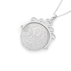 Sterling-Silver-Engraved-Round-Locket on sale