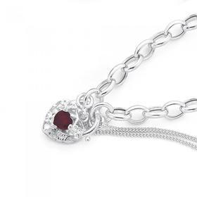 Sterling-Silver-Red-Cubic-Zirconia-Belcher-Padlock-Bracelet on sale