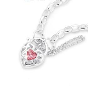 Sterling-Silver-Pink-Cubic-Zirconia-Padlock-Bracelet on sale