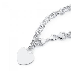 Sterling-Silver-Belcher-Bracelet-with-Heart-Charm on sale