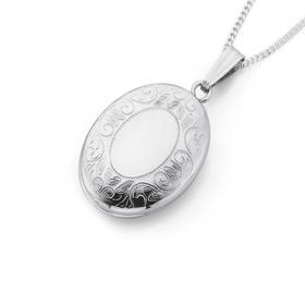 Sterling-Silver-Oval-Engraved-Locket on sale
