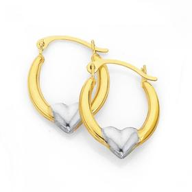 9ct-Gold-Two-Tone-Heart-Creole-Earrings on sale