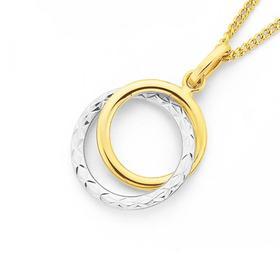 9ct-Gold-Two-Tone-Diamond-cut-Double-Circle-Pendant on sale